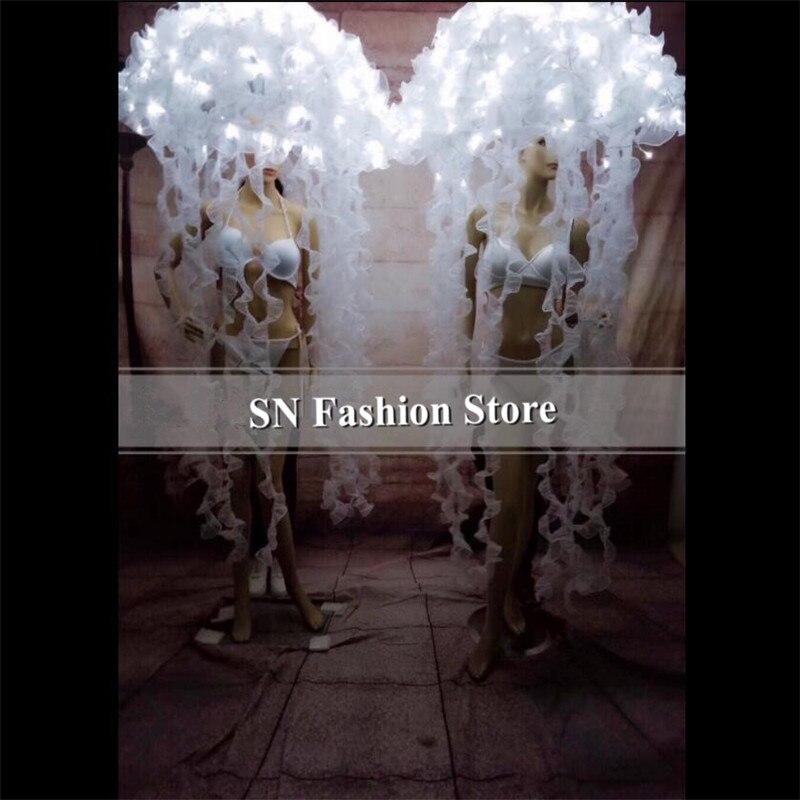 BC20 White led Jellyfish costumes ballroom dance dj singer led dress luminous headdress stage party show wear cloth performance
