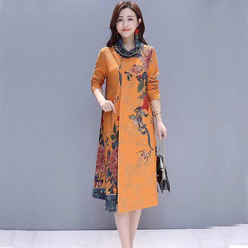 Grande taille 2019 automne et hiver nouvelle robe de femmes de haute qualité rétro à manches longues tempérament robe de mode élégant Vestido