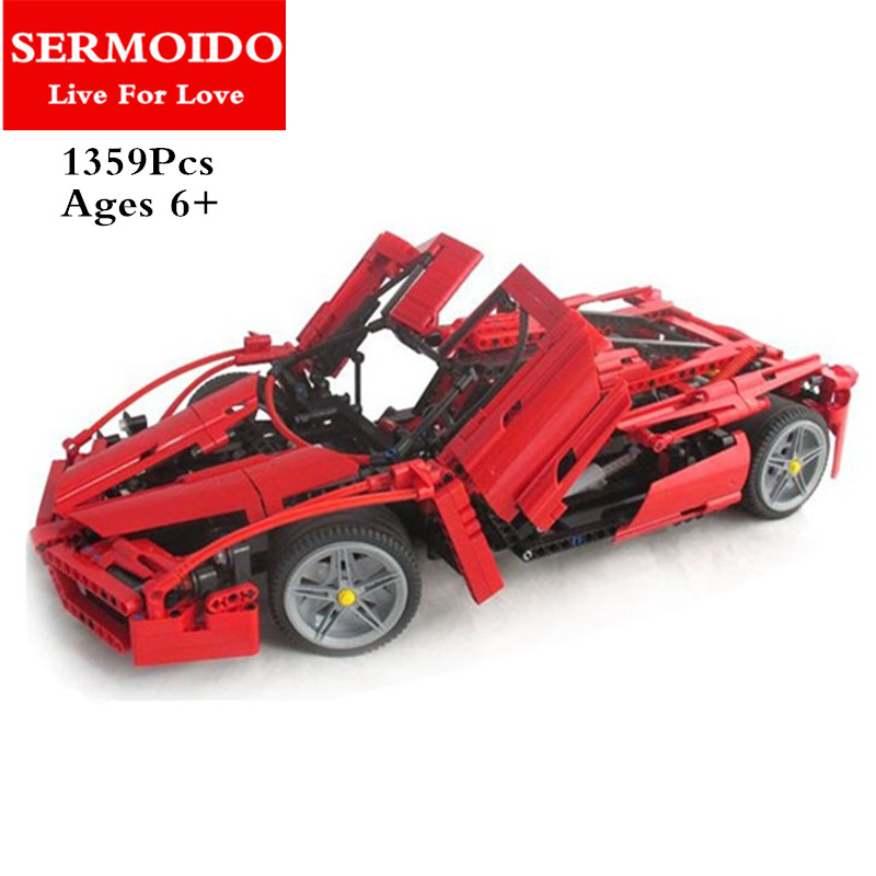 SERMOIDO 2017 New Technic ENZO 1:10 Supercar Car Model Building Block Educational Construction Bricks compatible with DIY 8653 new 10 1