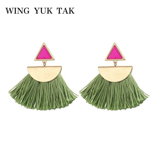 wing yuk tak Ethnic Multicolor Tassel Women Earrings Fashion Geometric Bohemia Vintage Drop Earrings Jewelry