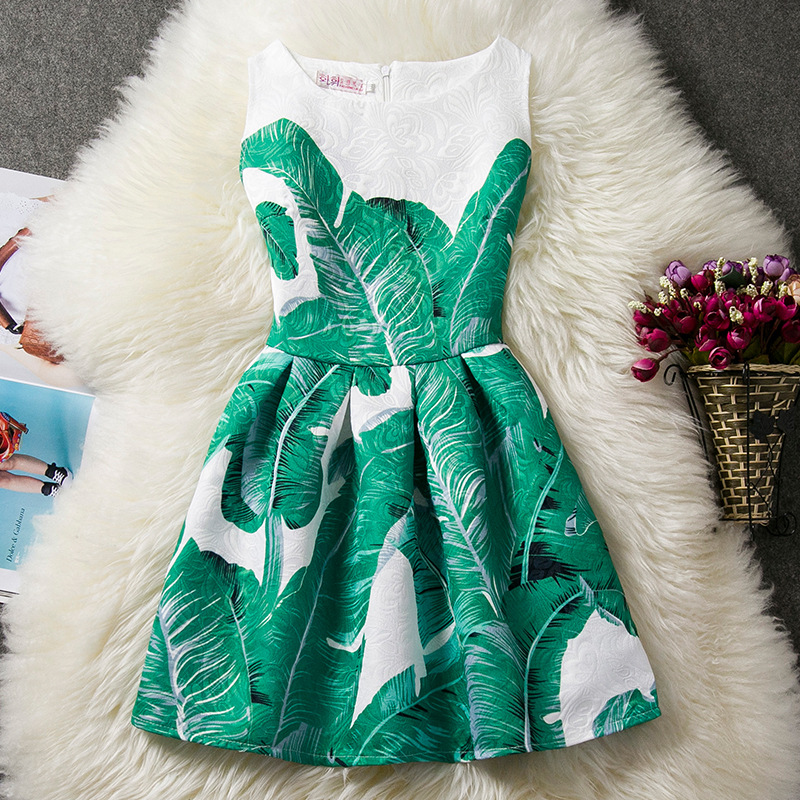 U-SWEAR 2019 New Arrival Kid   Flower     Girl     Dresses   Sweet Banana Leaf Print Sleeveless O-neck Pageant   Dresses   For   Girls   Vestidos