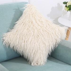 Image 5 - Soft Plush Square Cushion Cover Solid Waist Throw Pillow Cover DIY Car Sofa Home Decorative 45cm*45cm Pillow Cover