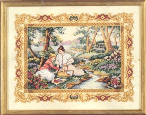 Top Quality Beautiful Lovely Counted Cross Stitch Kit Placid Picnic Mother And Daughter In The Park Lawn Love Dim 3798