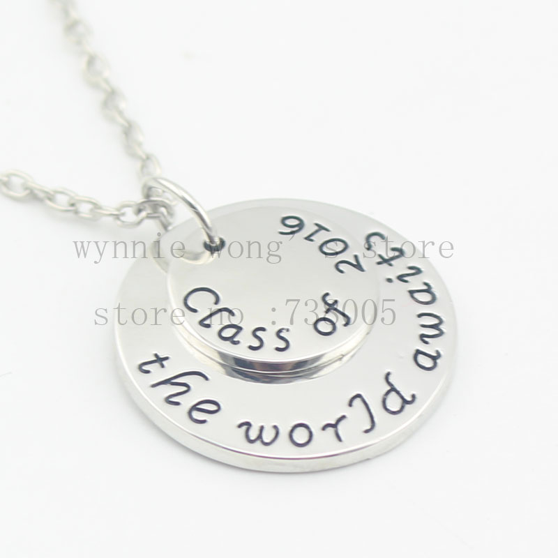 2016 new hand stamped necklace class of 2016 the world. Black Bedroom Furniture Sets. Home Design Ideas