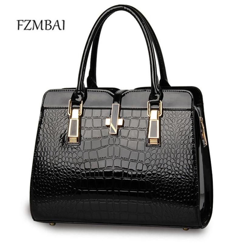 2017 Fashion Solid Color Handbag  Lady's Crocodile Grain Formal Bags