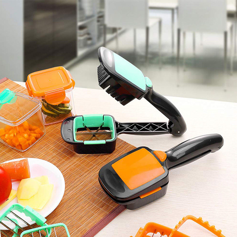 5 in 1 Multifunctional Vegetable Cutter with Steel Blade Stainless Food Fruit Slicer Chopper with Container Kitchen Accessories