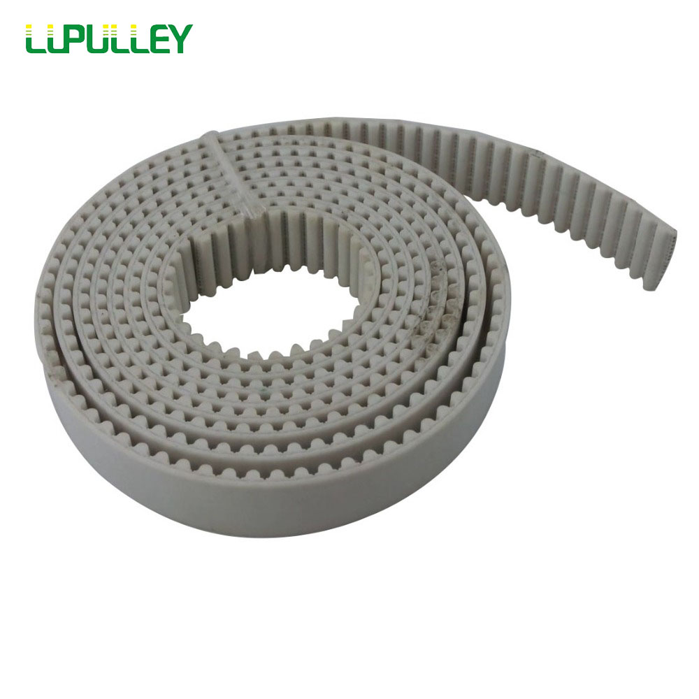 LUPULLEY HTD 5M Open Timing Belt 5Meters Pitch Length HTD5M-25mm/20mm/15mm Width White PU with Steel Synchronous Belt lupulley htd5m timing belt synchronous drive rubber belt 170 175 180 200 220 225 5m 15 20 25mm width teeth pitch 5mm 2pcs