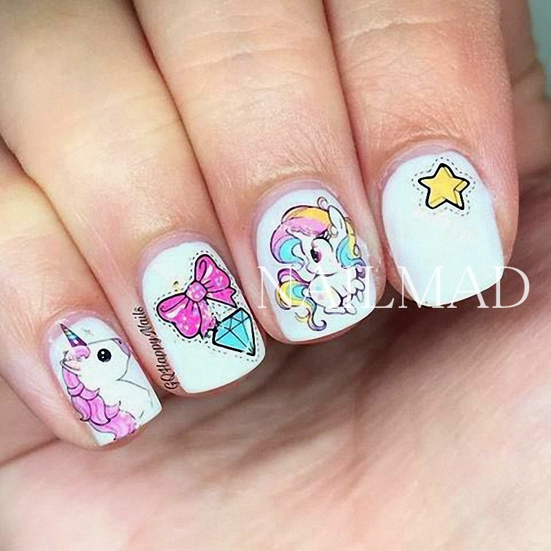 1 sheet Fantasy Unicorn Nail Water Decals Rainbow Horse Unicorn Nail Art  Transfer Sticker Tattoo Decals-in Stickers & Decals from Beauty & Health on  ... - 1 Sheet Fantasy Unicorn Nail Water Decals Rainbow Horse Unicorn Nail
