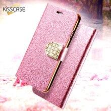 2107859498b Kisscase lujo Bling Flip para iPhone 6 6 S 7 más brillo chica cuero Bolsas  cartera