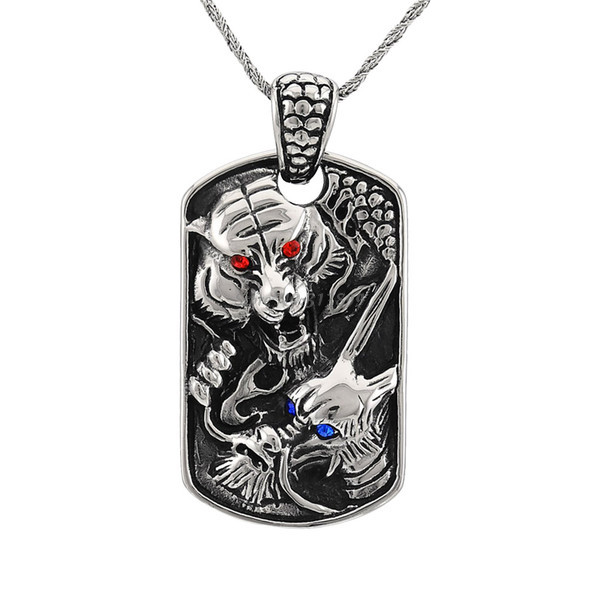 2015 New Famous Luxury Brand Vintage Fashion Titanium Stainless Steel Dragon Tiger Pendant Necklace Chain Men Gift - Fame (China store Fashion)