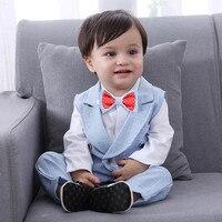 2019 baby boys Toddler Baby Boy Bowtie Gentleman Vest T Shirt Pants Wedding Suit Cloth Sets