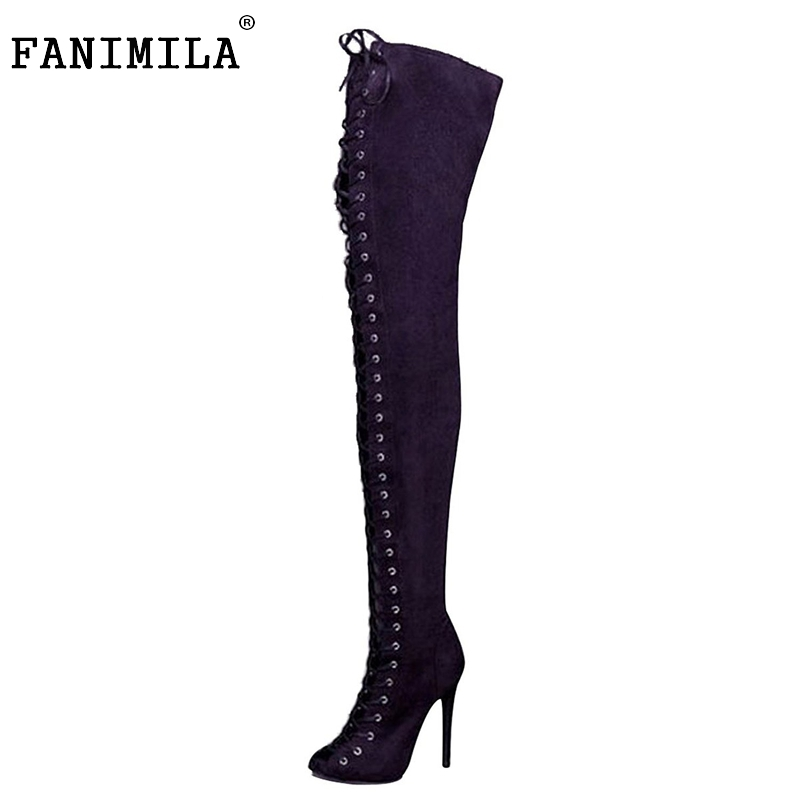 Women Pointed Toe Knee-high Boots Woman Fashion Lace Up Thin High Heels Boots Female High-quality Shoes Size 35-46 B097 customizable fashion women knee high boots sexy pointed toe thin heels leopard boots shoes woman plus size 4 15