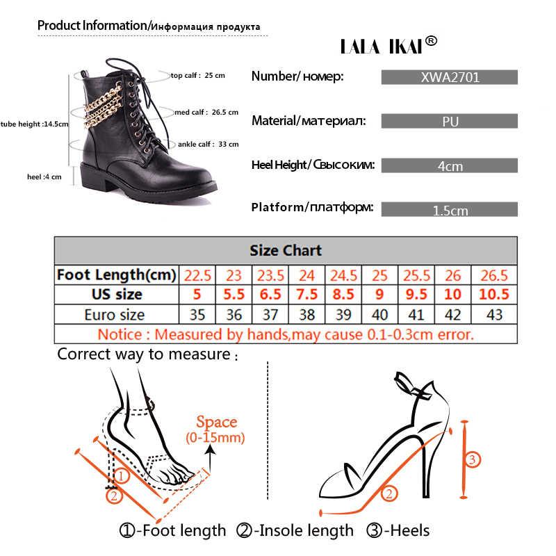 LALA IKAI Ayak Bileği Kış Vintage Çizmeler Kadın PU Deri Altın Chaine Çizmeler Dantel-up Med Topuk Yuvarlak Ayak Fermuar çizmeler 014A2701-45