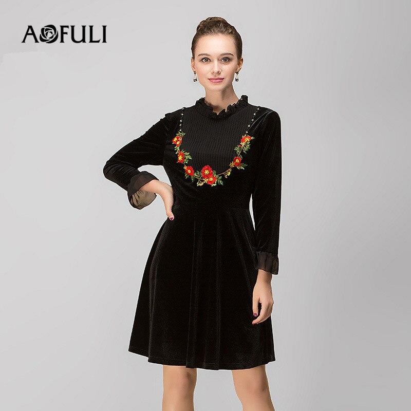 Fleur 3xl 5xl Taille Aofuli Femmes Robe Sleeev L 4xl Broderie Noir D'hiver Plus Robes Velours Vintage Long 2017 4qpwx7Swn