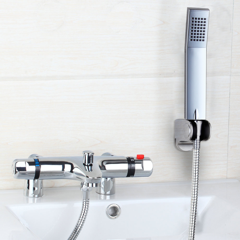 Contemporary Simple Delicate Shower Faucet Auto-Thermostat Control Wall Mounted Chrome Polished Hot Cold Water Excellent  Mixer wall mounted two handle auto thermostatic control shower mixer thermostatic faucet shower taps chrome finish