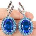 Grande Pedra Preciosa 20x15mm Topázio Azul Swiss, branco CZ SheCrown mulher Casamento Criado Brincos de Prata 50x23mm