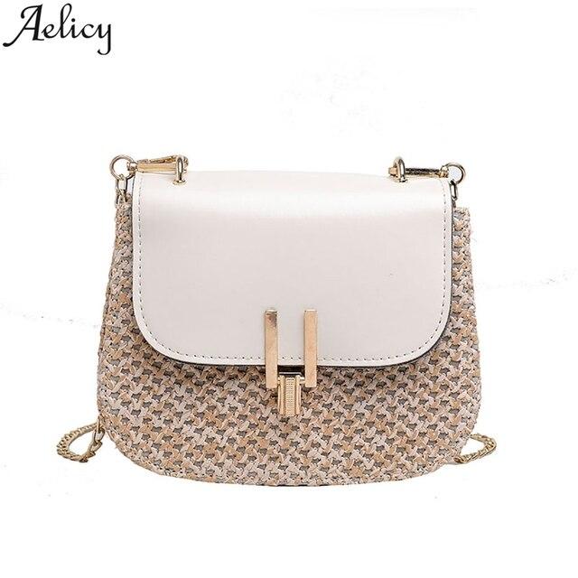 Aelicy Fashion women's Summer Rattan Bag Square Straw hand-woven Beach Messenger Bag Bohemian Bali Handbag