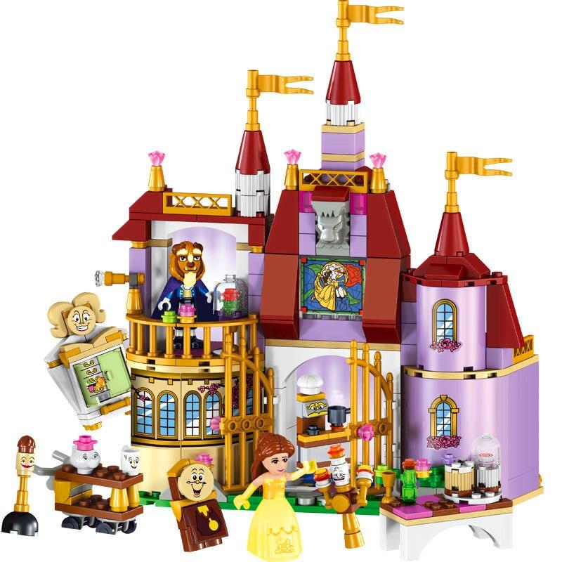LELE 37001 Beauty And The Beast Princess Castle Building Blocks Sets Brick Compatible Legoe 41067 Playmobil Toys For Children