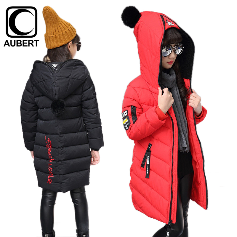Girls Parkas Winter New Kids Down Jacket Coat Thick Warm Long Section Outerwear Fashion Cotton Children Clothing for Girls 2017 new baby girls boys winter coats jacket children down outerwear warm thick outdoor kids fur collar snow proof coat parkas
