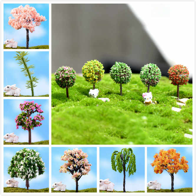 1/5pcs/Set Mini Tree Fairy Garden Miniatures Micro Landscape Resin Crafts Bonsai Figurine Garden Terrarium Accessories