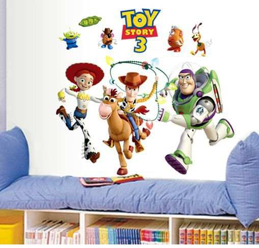 Us 96 Buzz Lightyear Toy Story Wallpaper Vinyl Wall Stickers For Kids Rooms Home Decor Living Room Sofa Wall Decals Home Decoration In Wall