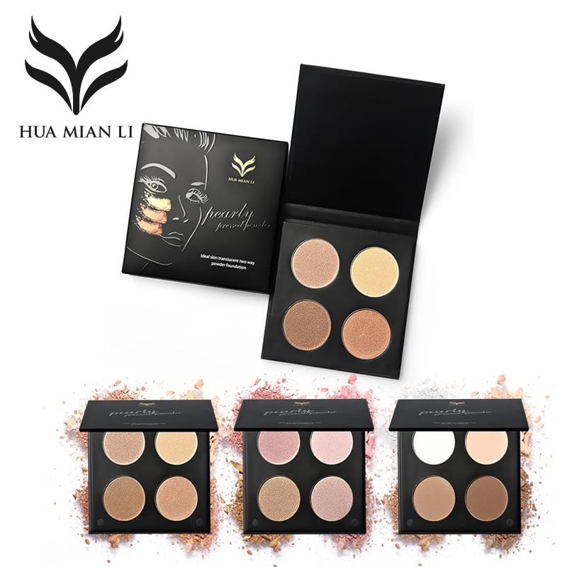 цена на HUAMIANLI Brand 4 Color Bronzer Highlighter Powder Makeup Matte Glitter Face Iluminador Compact Contour Palette Gloden Glow Kit