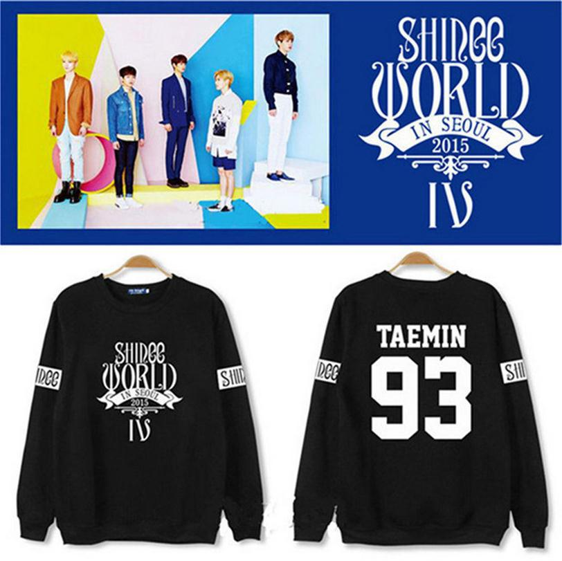 KPOP SHINEE Pullovers Shirt Hoodie fleeces coat long sleeve Hoody k-pop SHINee winter casual Sweatshirts tops Outerwear Clothes