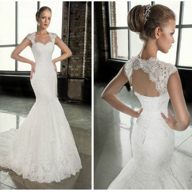 High Quality Tulle Mermaid Wedding Dresses Corset Lace Up