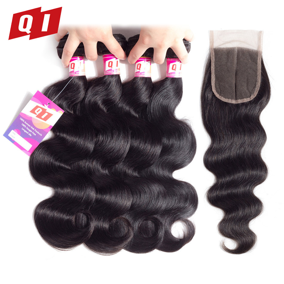 QI Hair Malaysian Body Wave Hair 100 Non Remy Human Hair 4 Bundles With 4 4