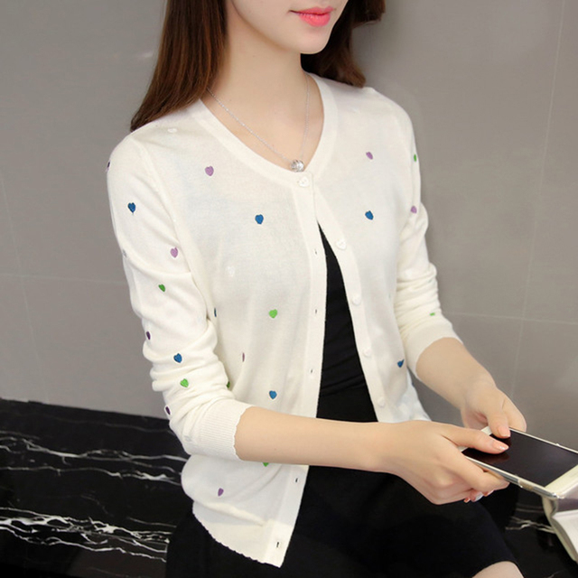 cute cardigan sweater women blouse Love knitted woman autumn ...