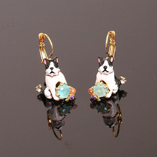 France Les Nereide Enamel Clip Earrings For Women Pet Dog Blue Gem Beautiful Romantic Party Jewelry Wholesale Top Quality New