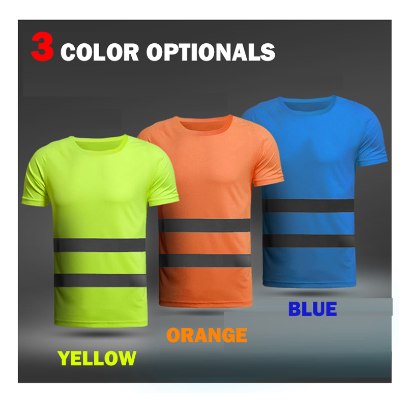 High visibility safety work shirt breathable work t shirt reflective t-shirt mens women workwear with reflective strips blue все цены