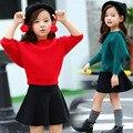 Niños bebé suéter para las muchachas del estilo de inglaterra casual capa del suéter de 2-9 T niños ropa niñas con capucha batwing suéter de la manga