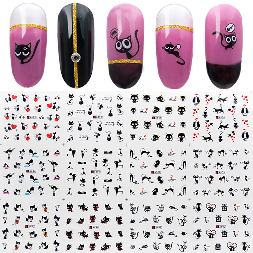 Image 2 - 12pcs/set Water Nail Sticker Black Cat Patterns Nail Art Water Decals Cartoon Nail Wrap Sticker Watermark Manicure Tools ZJT3024-in Stickers & Decals from Beauty & Health