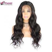 Funmi малазийские парики для фронта шнурка человеческих волос 360 кружевных фронтальных париков волнистые парики шнурка фронта Полная плотность Remy 360 парики шнурка