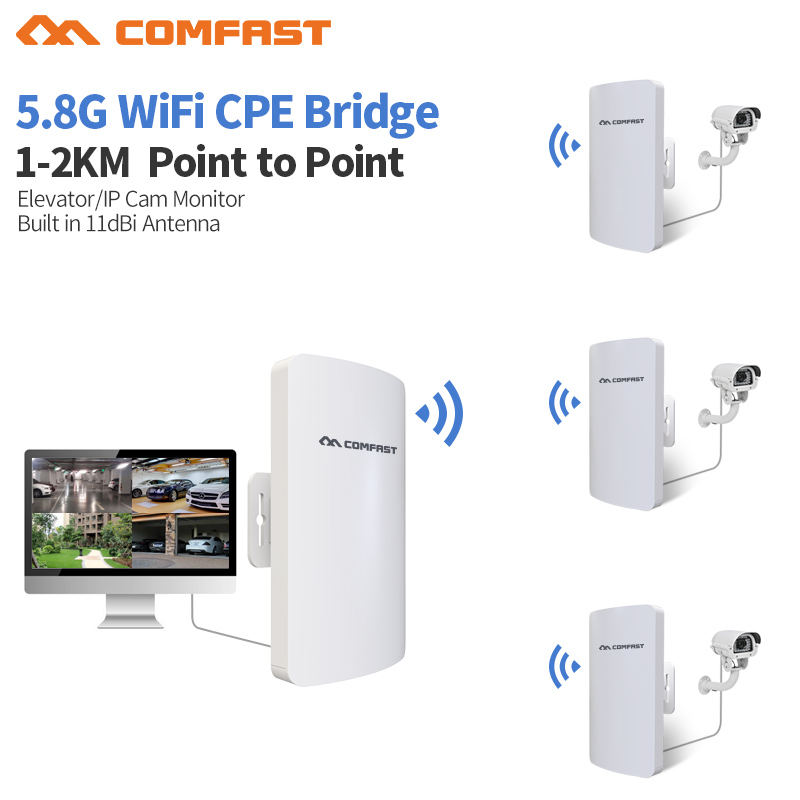 Comfast 1-2km Long Range 5.8Ghz 300Mbps Wireless Outdoor CPE wifi Bridge High Power Wireless Router 11dBi Antenna wi fi Repeater comfast 300mbps high power wireless bridge cpe router 2 4ghz outdoor access point cpe wifi repeater with 2 16dbi wi fi antenna
