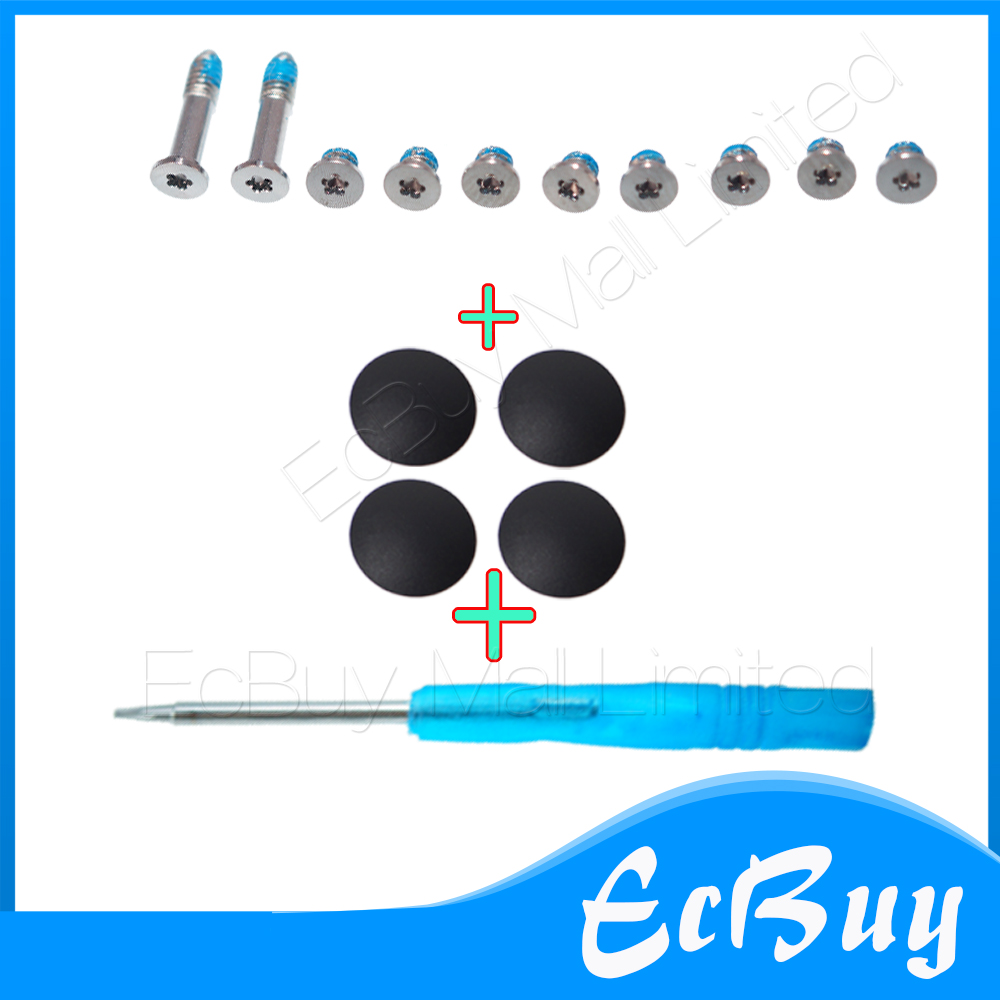 New 4pcs Plastic (No Rubber) Bottom Case Cover Feet Foot Kit+Screw Set+Tool for Macbook Air 11
