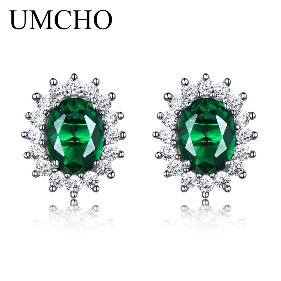 UMCHO Princess Stud Earrings Created Emerald Gemstone 925 Sterling Silver Engagement Wedding Earrings For Women Fine Jewelry цена