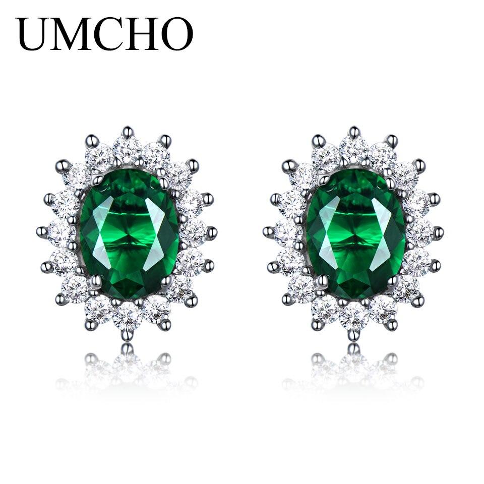 Umcho принцесса серьги созданы Изумрудный gemstone 925 серебро Обручение свадебные серьги для Для женщин Fine Jewelry