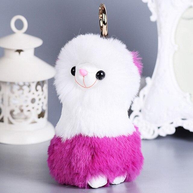 Cute Fluffy Alpaca Keychain Rabbit Fur Keychains Pompom Key Holder Women  Car HandBag Charms Trinket Keyring Accesorias Chaveiros 4d8eab38a940c