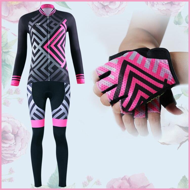 Осень новый бренд cheji Велоспорт одежда устанавливает женщин качественная и красивая кофта велосипед перчатки Профессиональный велосипедов одежда велосипед
