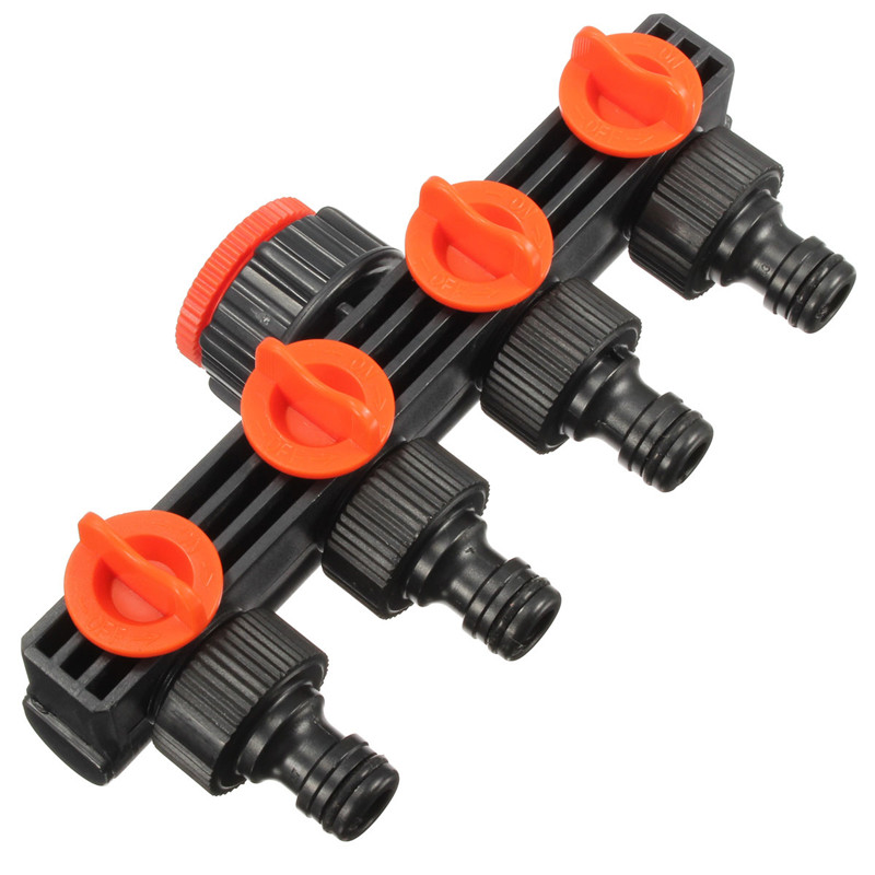Garden Hose Pipe Splitter Drip Irrigation Plant Garden Tools 4 Way Water Tap Connectors Quick Thread Adaptor
