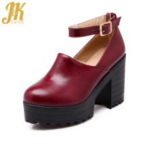 Brand new 2017 high thick heels platform ankle strap mary jane pumps skidproof sole ankle strap mary jane shoes gladiator pumps
