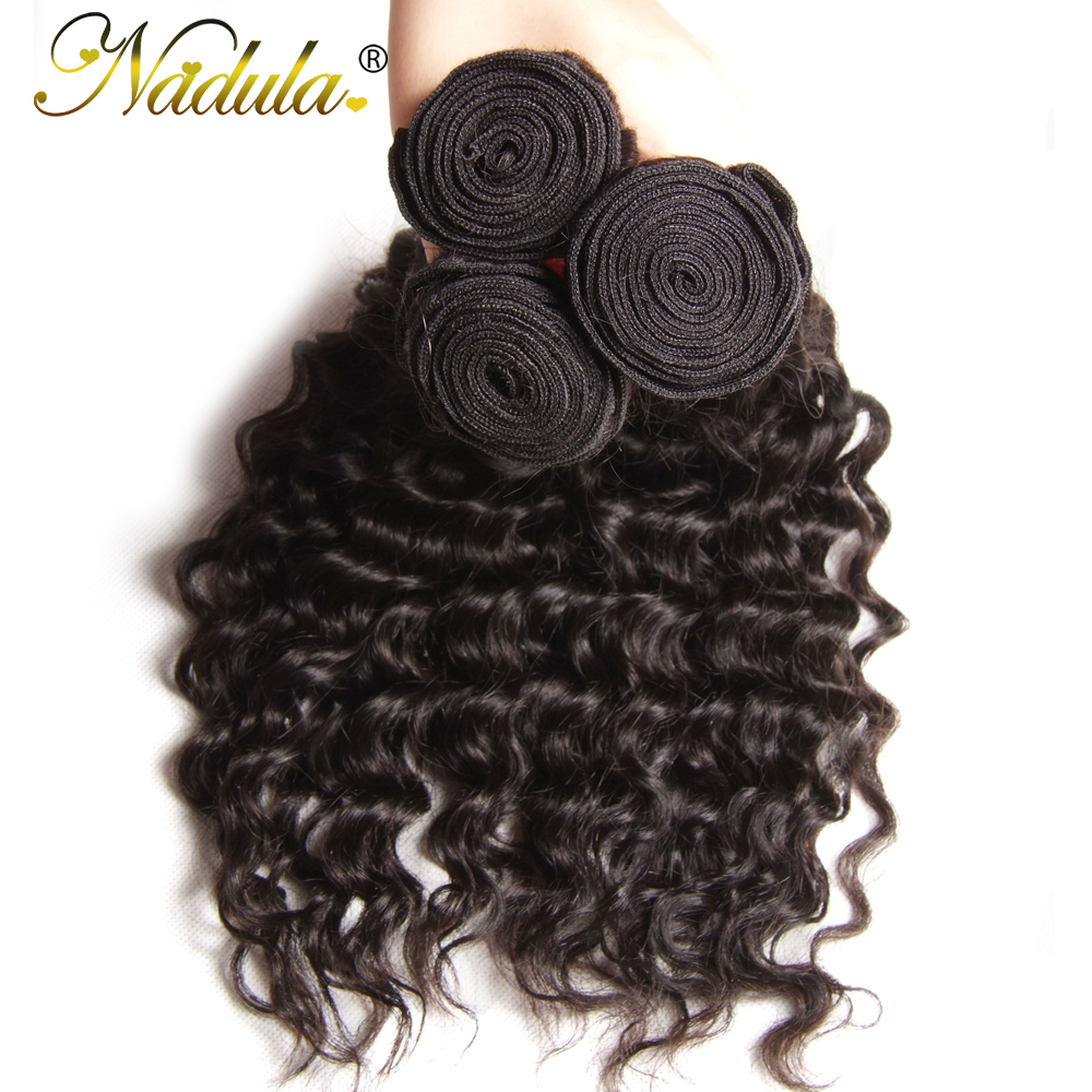 Nadula Hair  Deep Wave Bundles With Closure 10-28 inch 100%  s With Lace Closure Natural Color 4