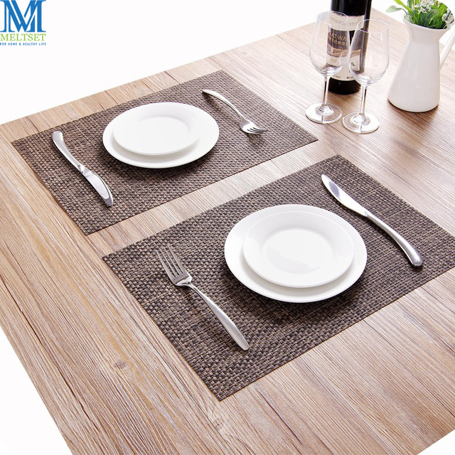 2pcs Lot Kitchen Table Mats Waterproof Insulation Woven Placemats Pvc Plastic Dining