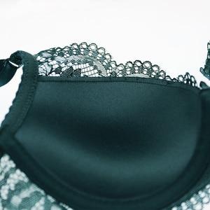 Image 5 - New Fashion Green Brassiere Deep V Push Up Bra Set Thick Cotton A B C Cup Women Bras Lingerie Set Lace Sexy Underwear Black