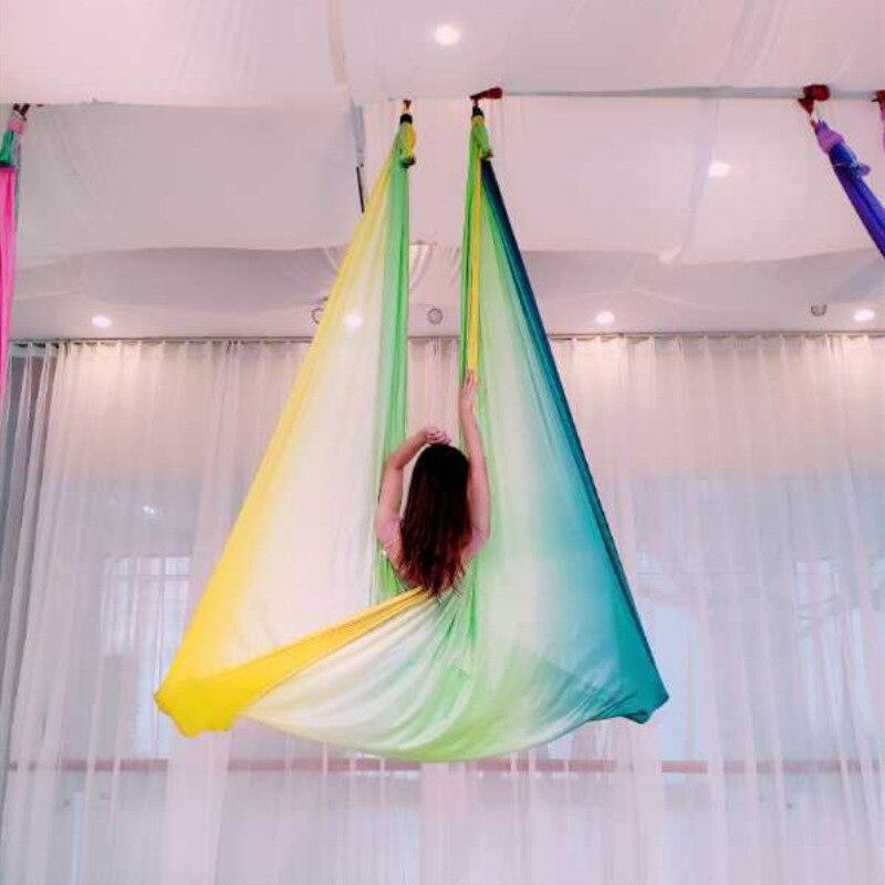 Multicolore 2018 nouveau hamac de Yoga Anti-gravité aérien balançoire lit de Yoga volant musculation Gym équipement de Fitness Inversion trapèze - 5