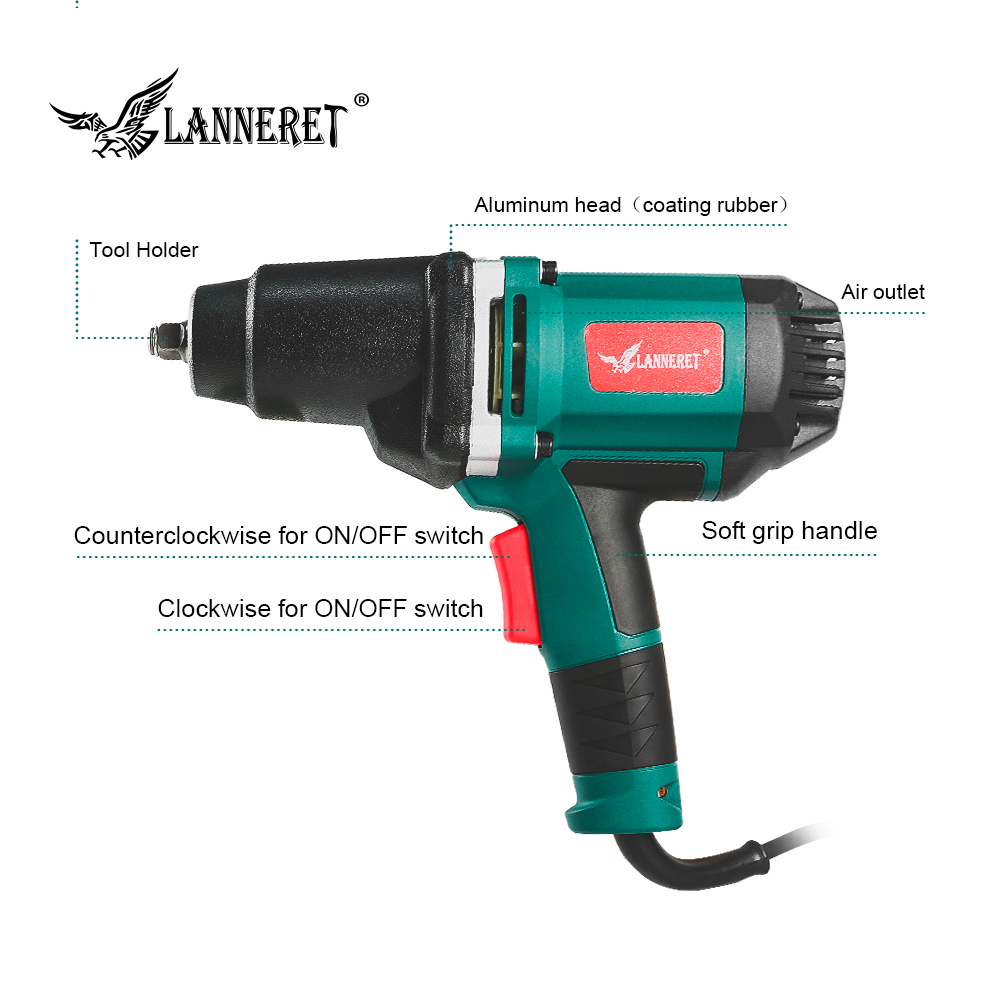 Image 3 - LANNERET 950W Electric Impact Wrench 450 550Nm Max Torque 1/2 inch Car Socket Household Professional Wrench Changing Tire Tools-in Electric Wrenches from Tools on