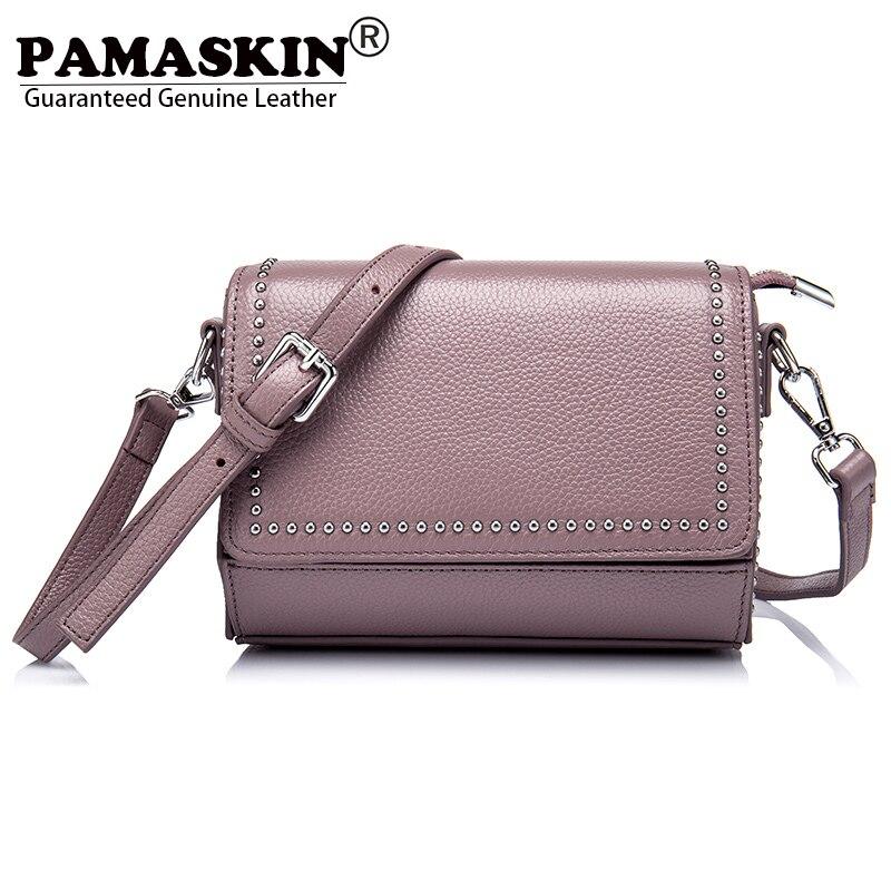 PAMASKIN Бренд Премиум из натуральной кожи Для женщин одно плечо сумки Винтаж заклепки женская сумка дизайнер Crossbody сумки Лидер продаж