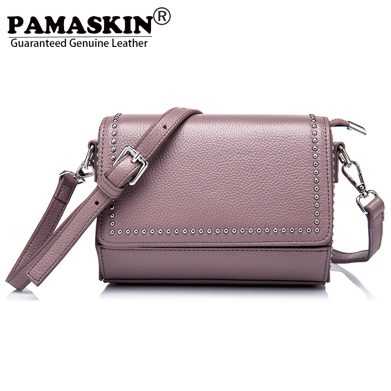 PAMASKIN Brand Premium Genuine Leather Women Single Shoulder Bags Vintage Rivet Female Messenger Bag Designer Crossbody Bags Hot vvmi 2016 new women handbag brand design rivet suede tassel bag chic classic vintage saddle bag single shoulder bag for female